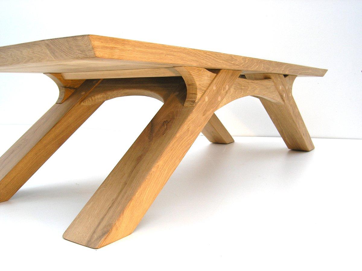 Bespoke Coffee Table With Angled Legs Handmade Oak