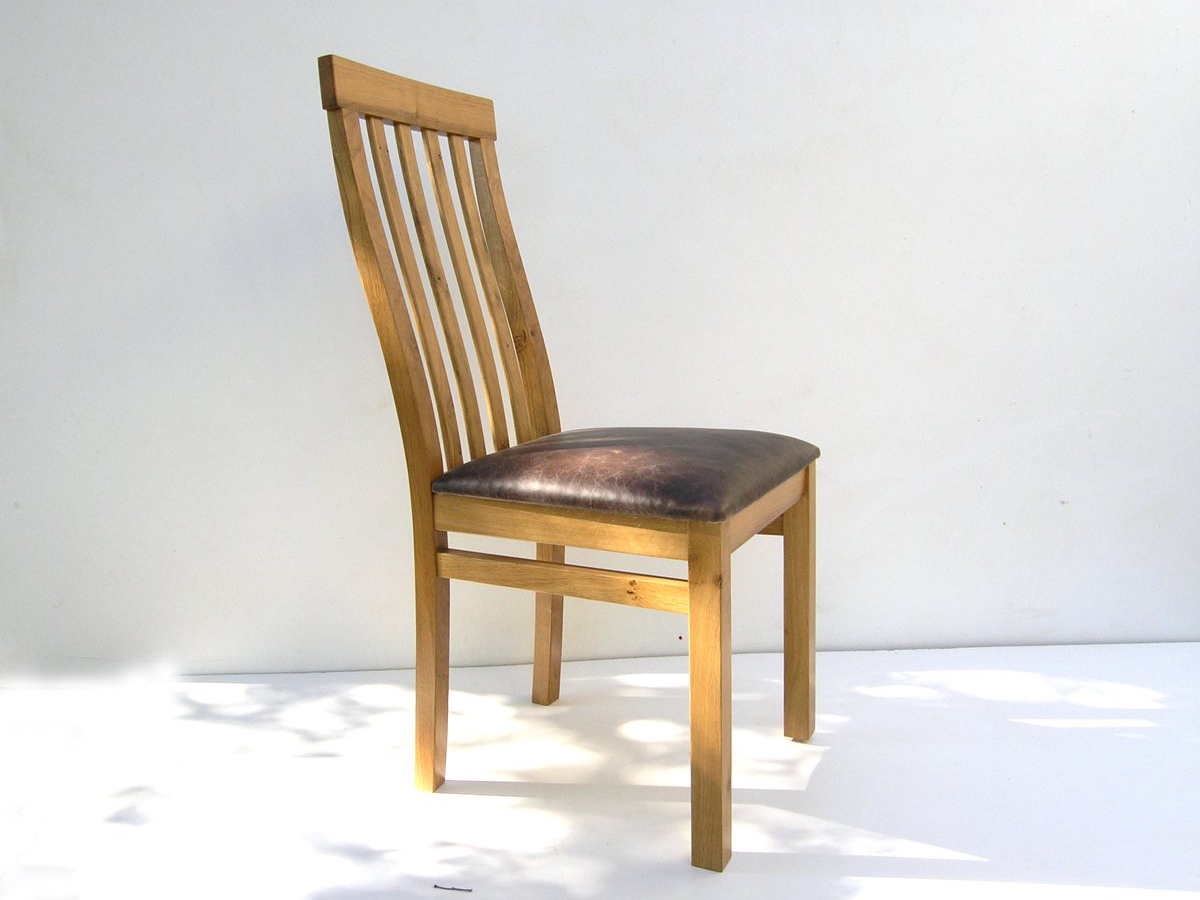 Bespoke Dining Chair with Leather Seat | Handmade Oak ...