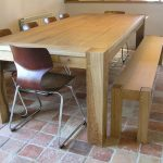 Handmade oak dining bench and table
