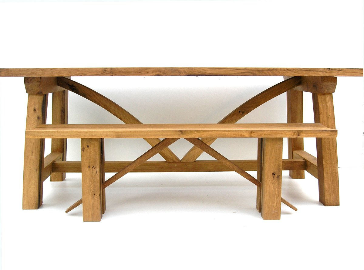 Contemporary oak refectory table makers handmade tables - Oak benches for dining tables ...