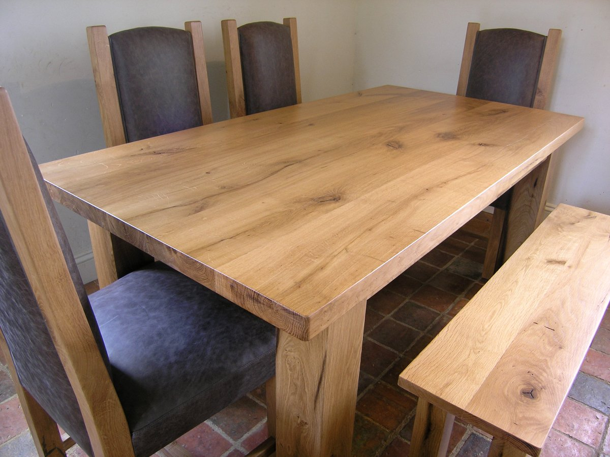 Bespoke oak dining table handmade french oak table for Oak dining table