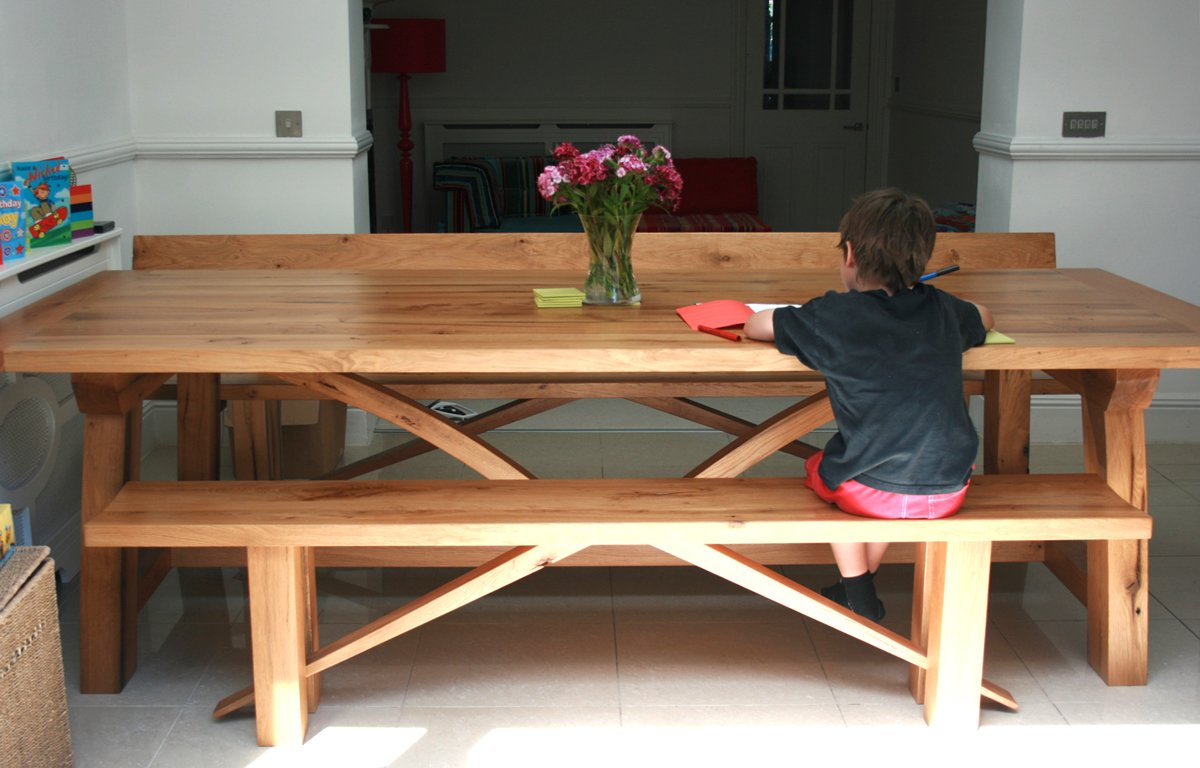 Contemporary Oak Refectory Table Makers Bespoke Furniture