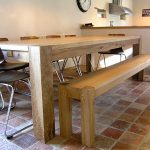 Contemporary Oak Dining Table and Bench - shown here with a Contemporary Dining Bench