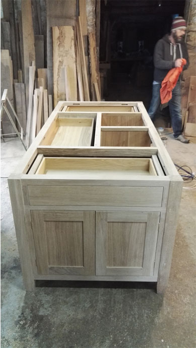 The Makers workshop - an oak kitchen island in progress
