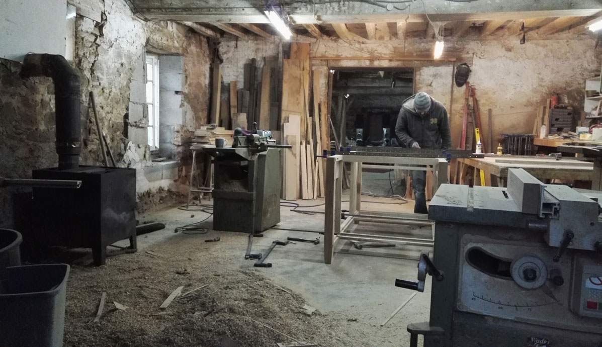 The Makers furniture workshop - an ancient stone cow barn